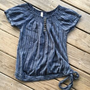 Maternity 100% cotton Blue striped peasant top